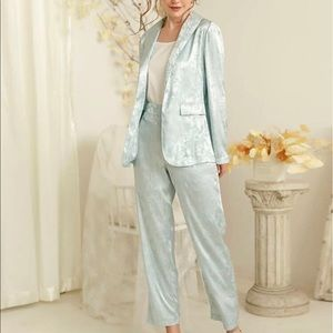 Solid jacquard suit blazer jacket w/matching pants